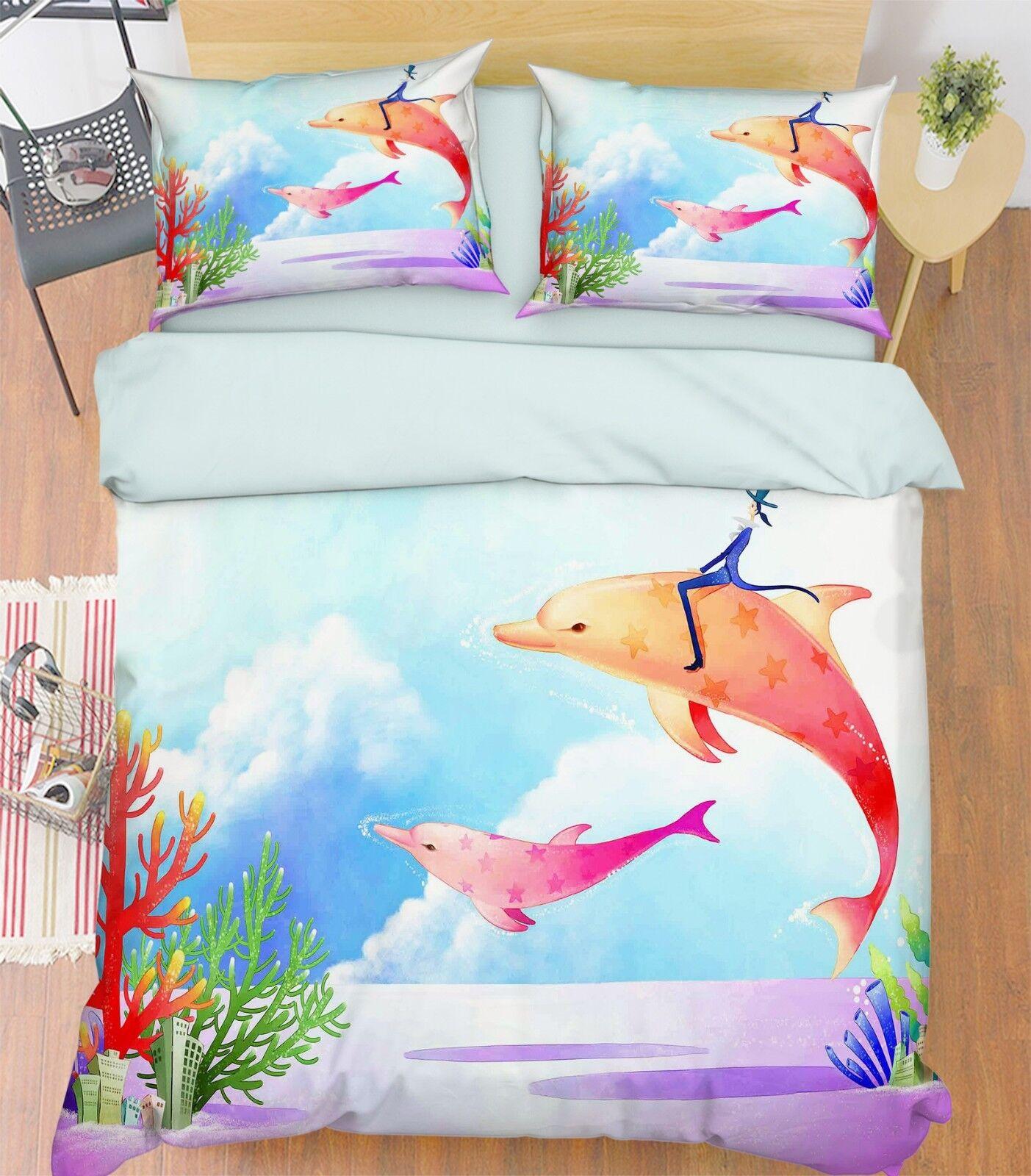 3D Dolphin Sky Kid 6 Bed Pillowcases Quilt Duvet Cover Set Single King UK Summer