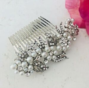 Wedding-Bridal-Silver-Crystal-Diamante-Pearl-Hair-Comb-Clip-Slide-Fascinator-UK