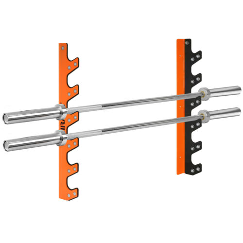 Mirafit 6 Barbell Wall Mount Rack Gym Weight Lifting Bar Storage Holder//Hanger