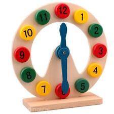 Neu Holz Uhrzeit Lehren Spielzeug Baby Kinder Lernspielzeug Kinder Uhr Lernen