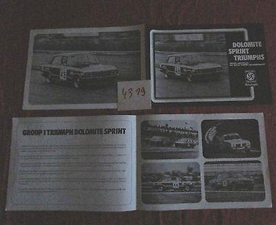 N°4319 / Dépliant Triumph Dolomite Sprint Group 1 Ongelijke Prestaties