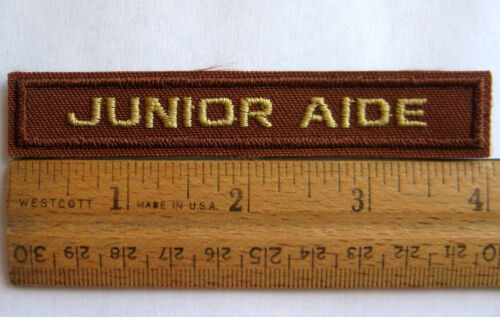 Girl Scout JUNIOR AIDE Aid PATCH Badge Brown Strip Brownie Bridging Award NEW
