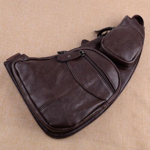 Hommes Vintage Cuir poitrine sac retro Oil Cire Smooth Shoulder Sac