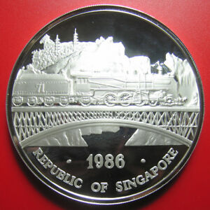 1986-SINGAPORE-5oz-SILVER-PROOF-LOCOMOTIVE-BRIDGE-TRAIN-DOUBLE-DRAGON-MINT-650
