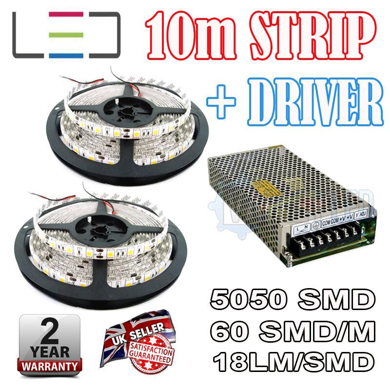 10m 12v Cool Weiß  LED Strip + 150w Driver 5050 IP65 300SMD 60SMD m Waterproof