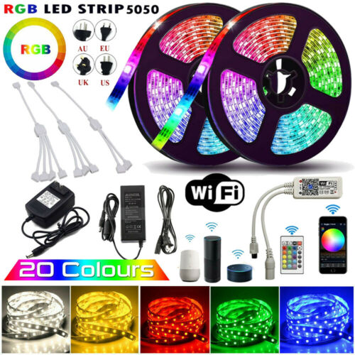 5M 10M 20M 5050 RGB LED Strip Light Wifi Controller for iPhone Android APP+Power