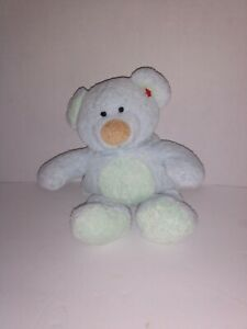 Ty Pluffies BLUEBERRY Bear Blue Soft Plush 2002 Green Tummy Tail Ears Lovey