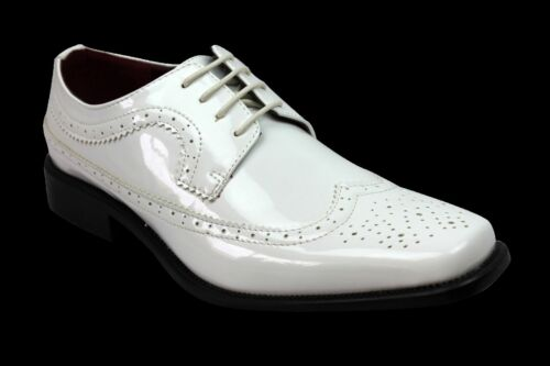 New Men/'s Dress Tuxedo Shoes White Wing Tip Patent Leather Shiny Lace Up Parrazo