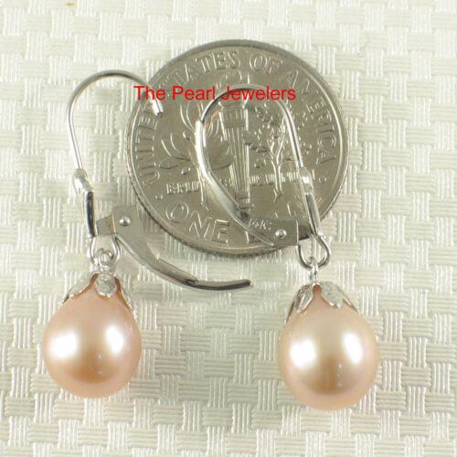 14k Blanc or Massif Leverback /& Cups; Rose//Blanc Perle Dangle Boucles d/'oreilles-TPJ