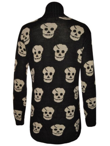 LADIES New OWL CROSS SNOWFLAKE Skull PATTERN WINTER JUMPER OPEN KNITTED CARDIGAN