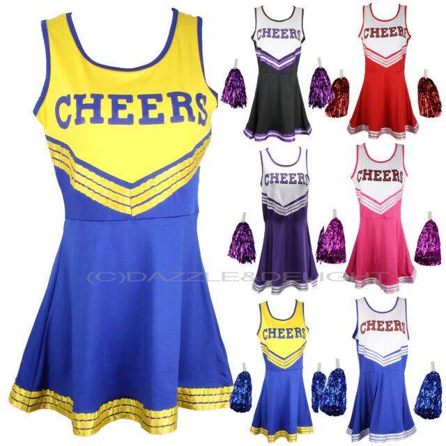 Cheerleader Costume Vestito uniforme HIGH SCHOOL MUSICAL Costume CON POM POMS