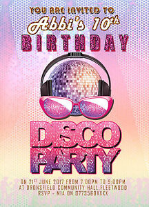 Personalised Birthday Disco Party Invitations For Girls Disco Party
