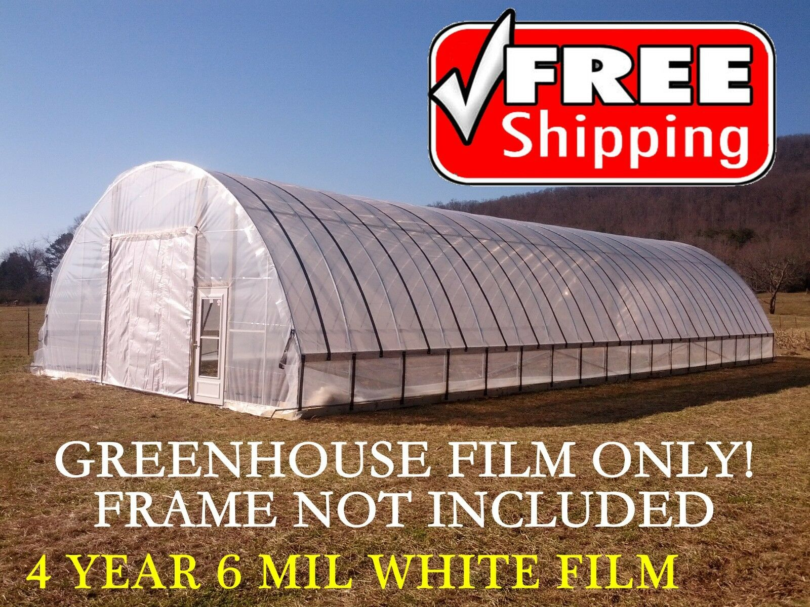 White Greenhouse Plastic, Film, Cover 55 Shade, 4 Year 6 Mil - 32 x 100 ft