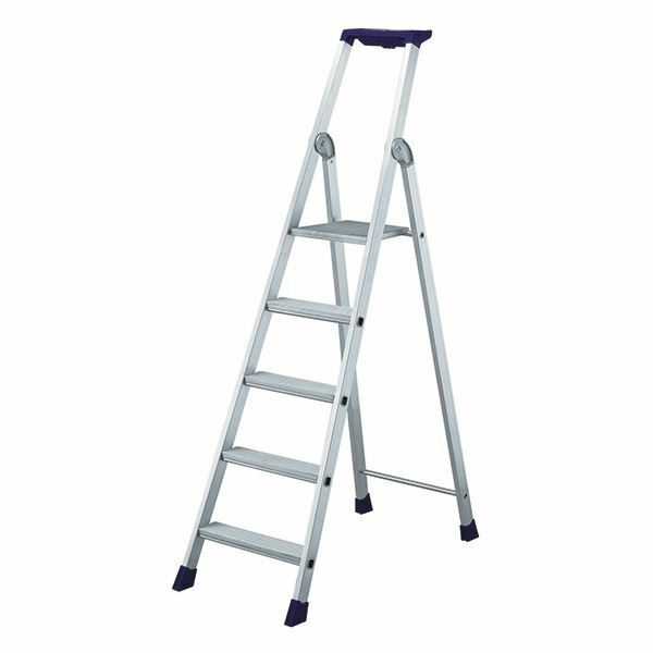5 Ribbed Tread Platform Step Ladder Aluminium 358755 [SBY16898]