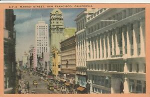 U-San-Francisco-CA-Street-Scene-on-Market-Street-From-Above-7-21-1953
