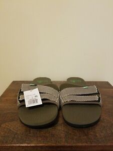 Sanuk-Beer-Cozy-Slide-2-Sandals-Shoes-Green-Size-11-New-Mens