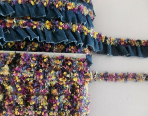 """GATHERED RUFFLED DENIM WITH A 1//2/"""" CHENILLE TRIM ON TOP OR JUST CHENILLE TRIM"""