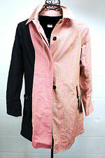 CUSTO BARCELONA Pink Gold Black Graphic Squares Mod Trench Coat Light Jacket M