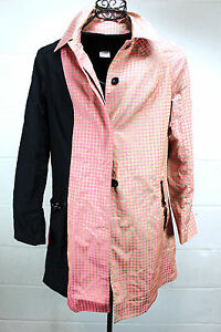CUSTO-BARCELONA-Pink-Gold-Black-Graphic-Squares-Mod-Trench-Coat-Light-Jacket-M