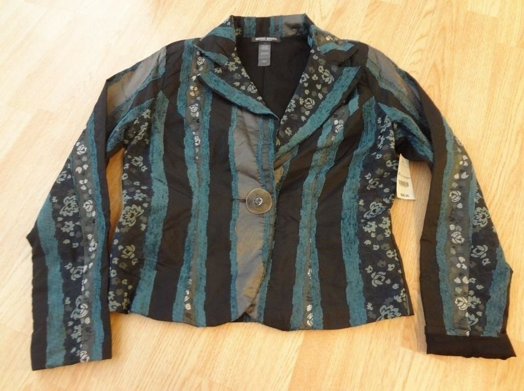 Women's Bisou Bisou Sz 14 NWT Light Jacket Dark Colors