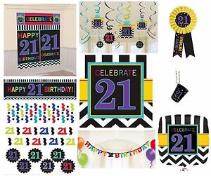 CHEVRON-Age-21-Happy-21st-Birthday-PARTY-ITEMS-Celebrate-Decorations-Tableware