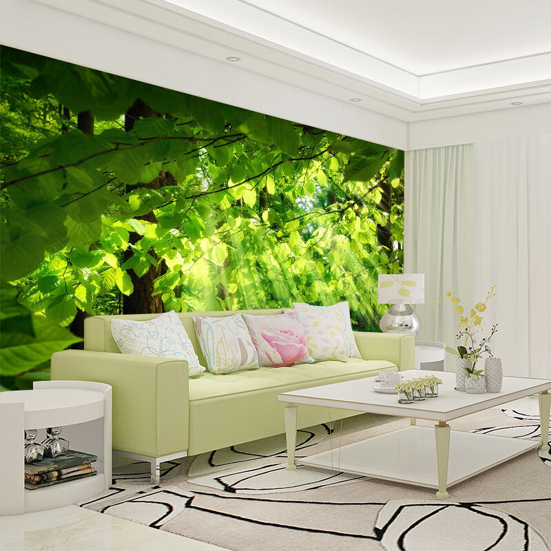 3D Grün Leaves Sunshine Wall Paper wall Print Decal Wall Deco Indoor wall Mural