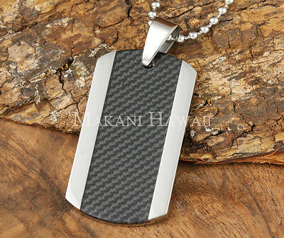 Stainless Steel Dog Tag Carbon Fiber Inlay Center Pendant SLP7001
