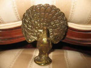 Vintage-Solid-Brass-Peacock-Figurine-Home-Decor-Made-In-Ireland
