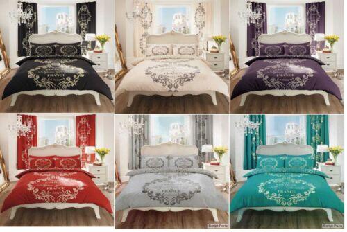 Luxury Script Paris Design Quilt Duvet Cover /& Matching Pillow Case Bedding Set