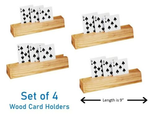 3 Rows Child /& Adult Friendly  NEW Four Wood Wooden Playing Card Holders