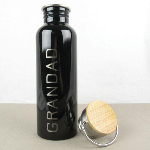 Personalizado De Metal Y Madera 800ml Botella de Agua Bebidas moderna matraz Negro//Blanco