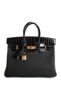 Hermes-Limited-Birkin-Touch-25-Togo-Niloticus-Crocodile-Rose-Gold-Handbag-Black