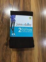 Women's 2 June & Daisy Cotton Leggings Size Medium Black/espresso 540g