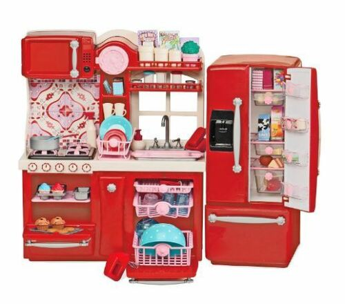 """Kitchen For 18/"""" Doll Accessories Food Dishes Fridge Oven Sink Girls Play Set Toy"""