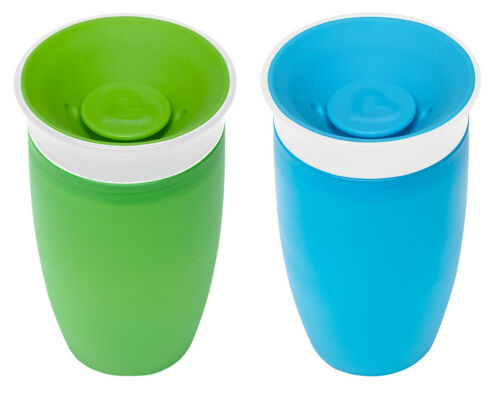 2 Count *FREE SHIPPING* Munchkin Miracle 360 Degree 10 Oz Sippy Cup Green//Blue