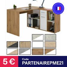 Bureau d'angle CARMEN avec étagères 1 porte et 1 tiroir de rangement