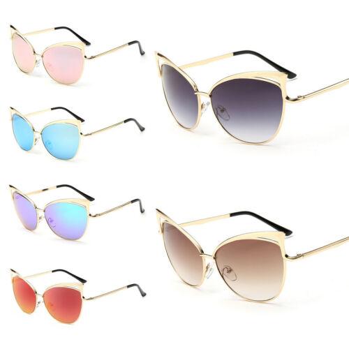 Women Oversized Metal Vintage Cat Eye Gold Designer Fashion Retro Sunglasses UK