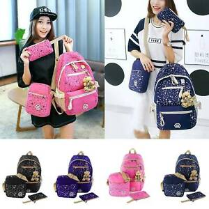 3Pcs-Ladies-Fashion-Travel-Canvas-Rucksack-Backpack-Pink-School-Shoulder-Bag