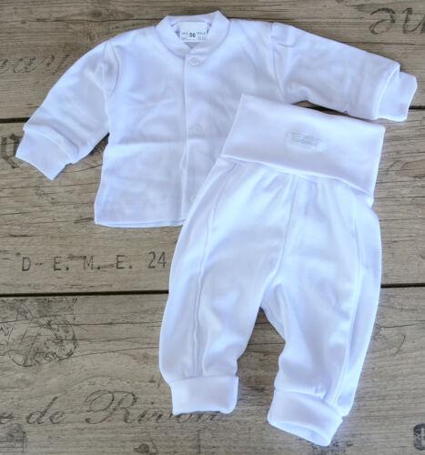 Baby Anzug 50 56 62 68 74 Hose /& Longsleeve Langarmshirt Hemdchen Taufe SET Weiß