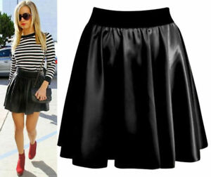 Women Ladies High Waist  Faux Leather Wet Look Flared Skater Mini Skirt