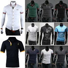 Mens Slim Fit Short Sleeve Clothing Shirts Solid Casual Formal T-Shirt Tee Tops