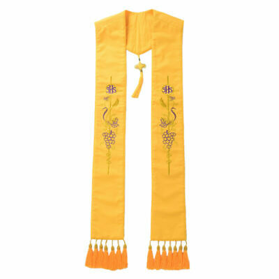 LONG CLERGY VISITATION STOLE WITH CROWN AND CROSS BLACK//GOLD