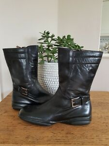 Fratelli-Rossetti-Size-3-Black-Genuine-Leather-Mid-Calf-Casual-Low-Wedge-Boots-N