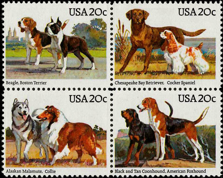 1984 20c Dogs, Beagle, Collie, Terrier, Block of 4 Scot