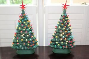 Tall Thin Christmas Tree With Lights.Details About Vtg Pair 18 5 Large Ceramic Lighted Christmas Trees Thin Tree Peg Light Tall