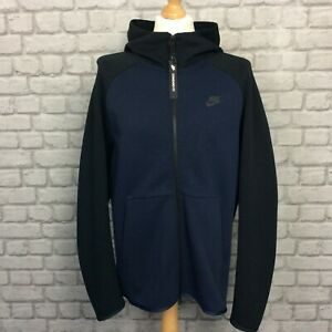 Nike Mens Tech Fleece Black Obsidian Blue Full Zip Track Top Hoodie Hoody Jacket Ebay