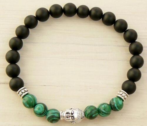 8 mm obsidienne malachite bracelet extensible 7.5 in Unisexe chakas Manchette Mala environ 19.05 cm