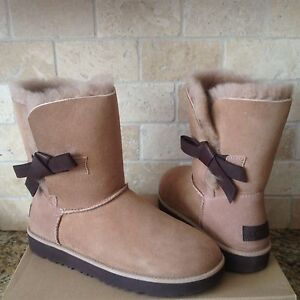 2ea3afb3165 Details about UGG Classic Knot Short Bow Natural Suede Sheepskin Boots Size  US 11 Womens NIB