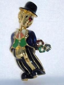 ON SALE Gold Tone Rhinestone and Enamel Figural Clown BroochPendant