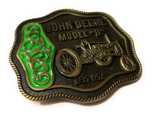 Green NEW John Deere Model B Tractor Belt Buckle Antique Bronze